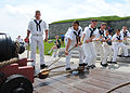 US Navy 110529-N-AU127-183 Sailors assigned to USS Constitution perform War of 1812-era gun drills for the public at Fort Independence on Castle Is.jpg