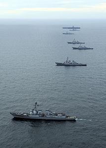 US Navy 120123-N-JL826-186 The Enterprise Carrier Strike Group maneuvers into formation.jpg