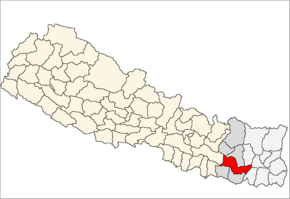 Udayapur District i Sagarmatha Zone (grå) i Eastern Development Region (grå + lysegrå)