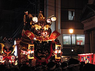 Karatsu Kunchi - Floats make their way through the streets of Karatsu on the opening night of the festival.