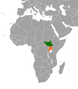 Map indicating locations of Uganda and South Sudan