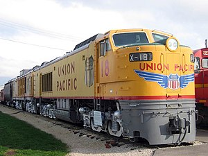 "Union Pacific GTELs - UP 18, a third generation GTEL with four three axle ""C"" trucks, preserved at the Illinois Railway Museum."