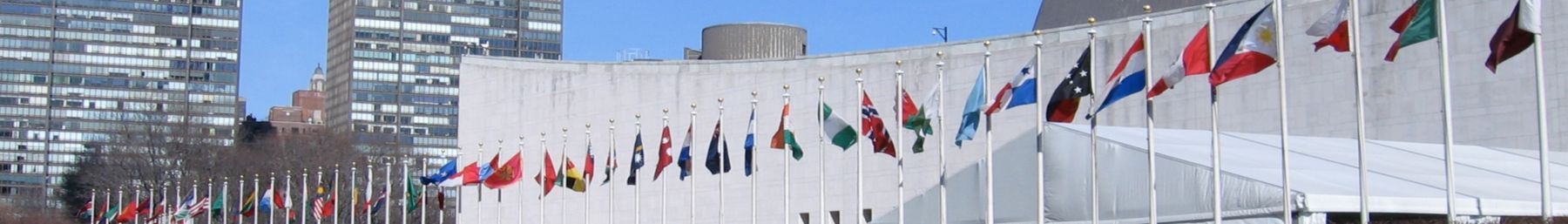 Flags outside the UN Headquarters in New York City.