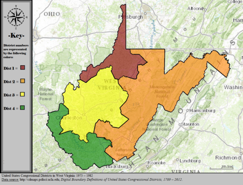 1973 1982 United States Congressional Districts In West Virginia 1973 1982 Tif
