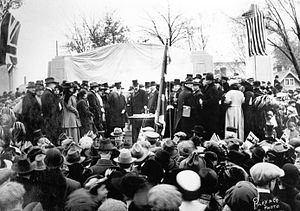 Bell Memorial - The unveiling of the Bell Memorial in October 1917, with Bell and dignitaries.