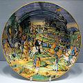 Urbino, bottega di guido durantino, grande piatto con sacco di roma del 1527, 1540 ca..JPG