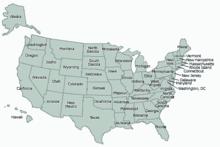 Peta negara-negara bagian as dengan batas wilayah