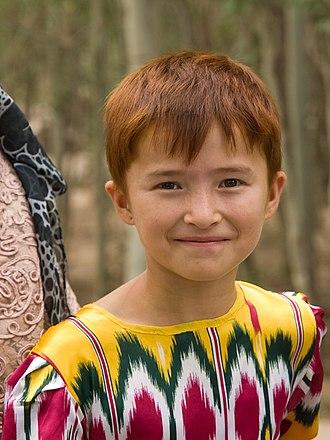 Auburn hair - A Uyghur girl in Kashgar, China's Xinjiang region, with auburn hair