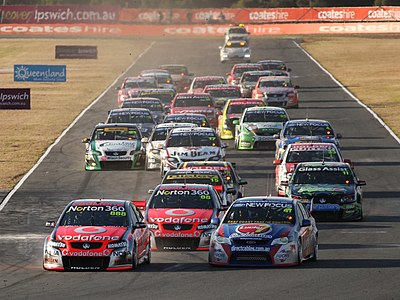 The start of a race at Queensland Raceway in 2011. V8 Supercar start 2011.jpg