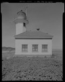 VIEW FROM ISLAND, SHOWING WEST FACADE, LOOKING EAST - Cape Arago Lighthouse, Gregory Point, Charleston, Coos County, OR HABS OR-189-7.tif