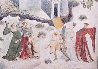 Snowball - A medieval image from Italy of people throwing snowballs