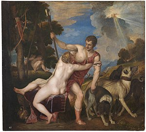 Dart (missile) - ''Venus and Adonis'' by Titian, Prado, 1554.  Adonis is killed by a wild boar later in the day.