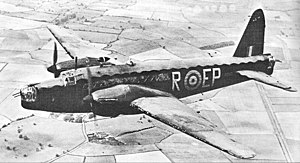 RAF Andreas - Vickers Wellington (similar to those operated by No. 11 Air Gunnery School, RAF Andreas) This particular aircraft was part of No. 104 Squadron, and differs insofar as it was powered by Rolls Royce Merlin engines