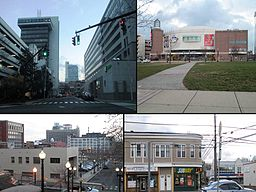 View of Bridgeport Center-People's Bank Building from Middle St.-Webster Bank Arena-Downtown view from stairs-Subway.jpg