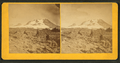 View of hikers with Mt. Hood in the background, by Buchtel & Stolte.png
