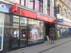 Virgin Money - A former Northern Rock branch now in Virgin Money branding in Leeds.