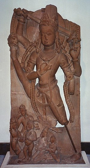 Gurjara-Pratihara -  Vishnu Trivikrama, an 11th-century Pratihara stone sculpture from Kashipur, Kept at the National Museum, New Delhi.