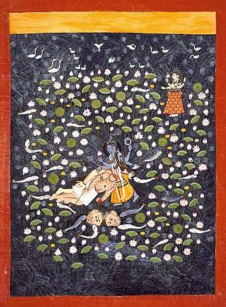 Devi Mahatmya - Vishnu Vanquishing the Demons Madhu and Kaitabha, as the Goddess looks on. Folio from a Devimahatmya