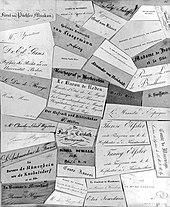 Visitenkarten von Rahel Varnhagens Besuchern (um 1825, Album in der Staatsbibliothek zu Berlin – Preußischer Kulturbesitz) (Quelle: Wikimedia)