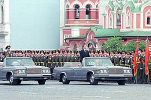 2001 Moscow Victory Day Parade - Defense Minister Sergei Ivanov inspecting the troops participating in the victory parade.