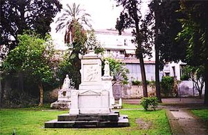 English Cemetery, Naples - The Von Willer burial plot. Behind, on the left, is the memorial to Mary Somerville.