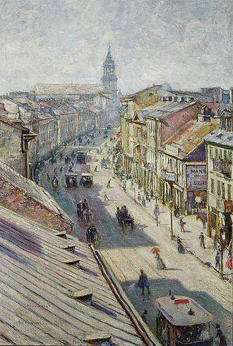 Antoni Lange - Władysław Podkowiński, Nowy Świat Street (1900), a town where Lange lived
