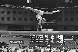 Balance beam - Daniela Silivaș performing on the balance beam at the 1987 World Championships