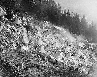 Sella Nevea - World War 1: 1st Alpini Regiment camped below the Sella Nevea pass