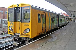 Waiting to depart, New Brighton Railway Station (geograph 2985690).jpg