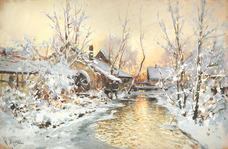 File:Walter Moras - Verschneite Wassermühle.jpg