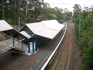 Warrawee railway station platform 2 from footbridge.jpg