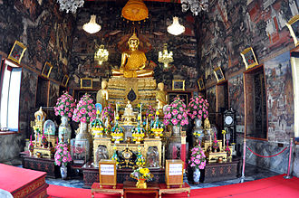 Ubosot - Interior, ubosot of Wat Arun, with the principal Buddha in Maravijaya attitude