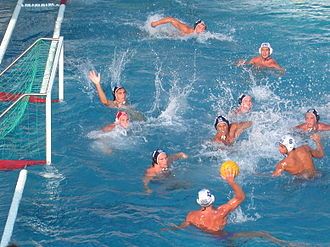 Water polo - Greece (white) vs. Hungary (blue) play a water polo match at the World Junior Championships 2004 in Naples, Italy.