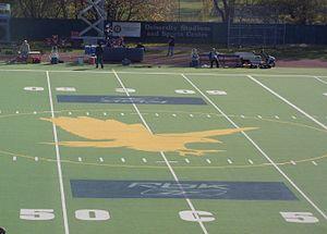 University Stadium (Waterloo, Ontario) - The center of University Stadium prior to 2007 renovations, featuring the Laurier Golden Hawk.