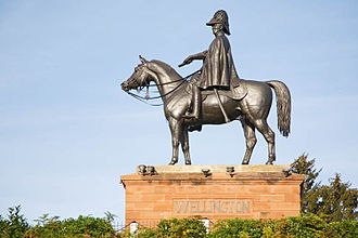 Equestrian statue of the Duke of Wellington, Aldershot - The Wellington Monument, Aldershot, showing the Duke of Wellington, holding a field marshal's baton,  seated on his charger Copenhagen