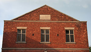 Primitive Methodist Chapel, Nantwich - Detail of pediment and tablet