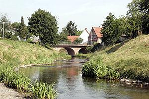Einhausen, Hesse - The Weschnitz, renaturalized in 2006/2007, flows through Einhausen (looking westwards)