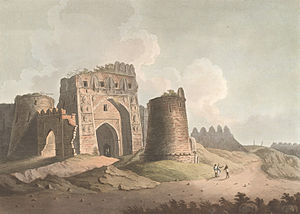 Tughlaq dynasty - A painting of west gate of Firozabad fort, near Delhi. This fort was built by Feroz Shah Tughlaq in the 1350s, but destroyed by later dynasties.
