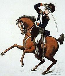 Tekening van een yeomanry cavalerist te paard