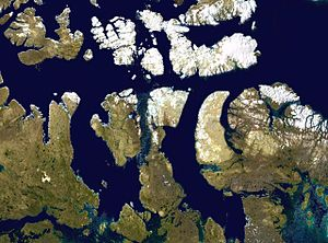 Somerset Island (Nunavut) - Satellite photo montage of Somerset Island and its neighbours