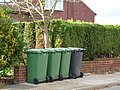 Wheelie bins on the pavement, Lower Mickletown - geograph.org.uk - 1592360.jpg