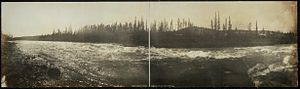 White Horse Rapids - Panorama of the White Horse rapids, 1899