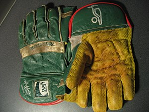 Wicket-keeper's gloves - A pair of wicket-keeping gloves. The webbing which helps the keeper to catch the ball can be seen between the thumb and index fingers.