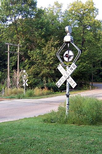 Wigwag (railroad) - Image: Wigwag signals near Devil's Lake