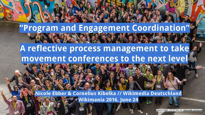 "File:Wikimania 2016 - ""Program and Engagement Coordination"" – A reflective process management to take movement conferences to the next level.pdf"