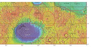 Hesperia Planum - MOLA map showing exact boundaries of it and other regions.  Color indicates elevation.
