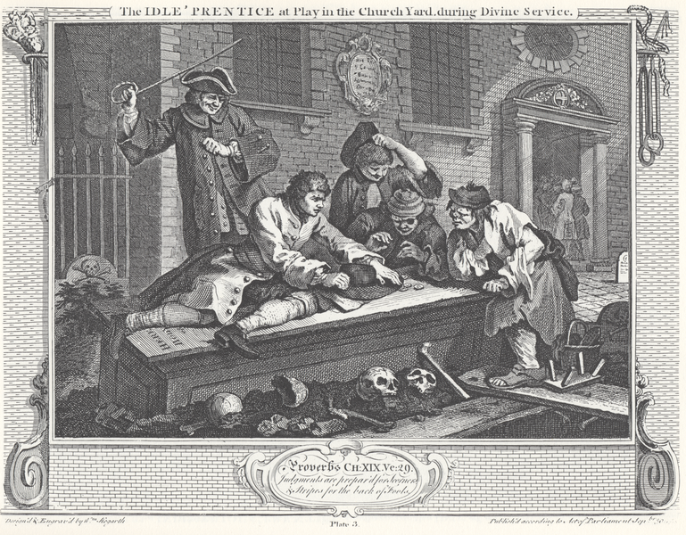 File:William Hogarth - Industry and Idleness, Plate 3; The Idle 'Prentice at Play in the Church Yard, during Divine Service.png