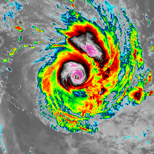 Central dense overcast - Southern hemisphere tropical cyclone Winston with a large CDO surrounding its eye