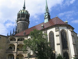 Electorate of Saxony - Castle church in Wittenberg, where Martin Luther nailed his Ninety-Five Theses