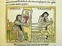 Woodcut illustration of the artist Marcia Varronis (or Iaia of Cyzicus) - Penn Provenance Project.jpg